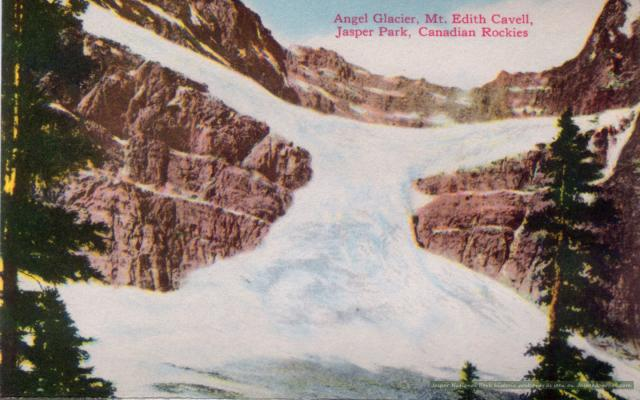 Angel Glacier on Mount Edith Cavell Photo from the 1950s.  The glacier is huge and travels up the side of the mountain.
